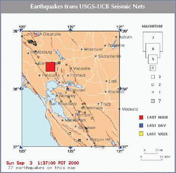 recent earthquakes in california. Map of recent earthquakes in