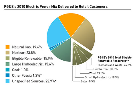 PG&E's 2010 Electric Delivery Mix