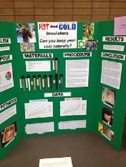 Photograph of hot and cold insulators Science Fair entry