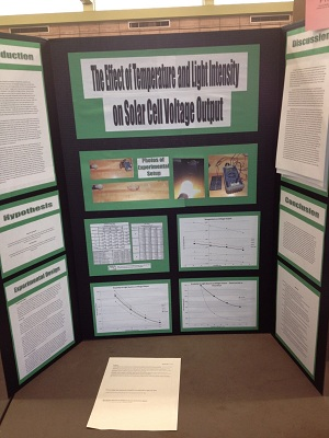 Photograph of Temperature and Light Intensity on Solar Cell Voltage Output Science Fair entry