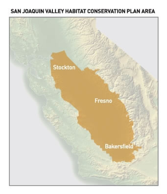 Map of San Joaquin Valley Service Area