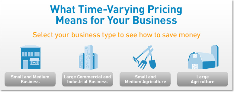 What Time-Varying Pricing Means for your Business.  Select your business type to see how to save money.