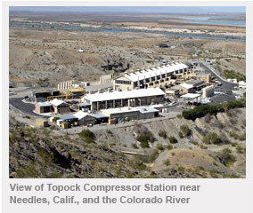 PG&E's Topock natural gas compressor station is located near Interstate 40 and the Colorado River, southeast of Needles, California.