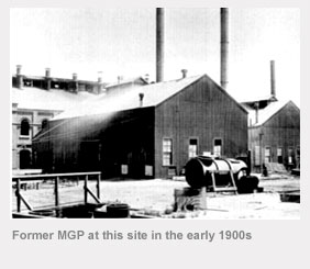 The former manufactured gas plant at this site in the early 1900s