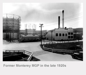Former Monterey manufactured gas plant in the late 1920s