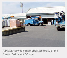 A PG&E service center operates today at the former Oakdale MGP site