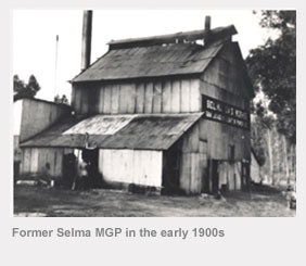 Former Selma manufactured gas plant in the early 1900s