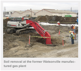 Soil removal at the former Watsonville manufactured gas plant