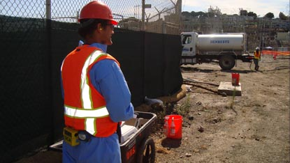 Personal dust monitors are used to monitor site conditions and protect workers