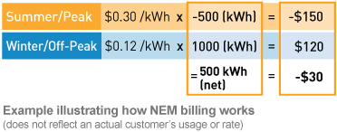 example illustrating how NEM billing works