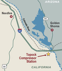 Map of Topock Compressor Station near Needles, California and the Colorado River