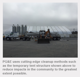 PG&E uses cutting-edge cleanup methods such as the temporary tent structure shown above to reduce impacts in the community to the greatest extent possible.