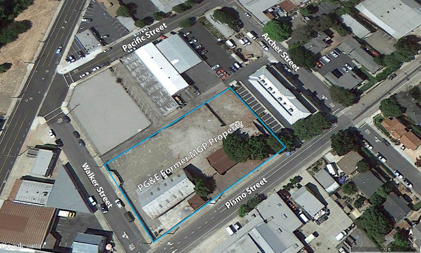 Aerial view of property where work took place.