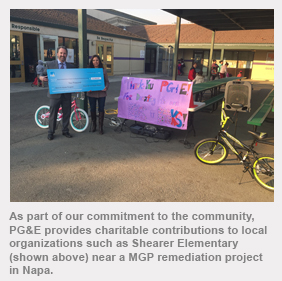 As part of our commitment to the community, PG&E provides charitable contributions to local community organizations such as Shearer Elementary (shown above) near a MGP remediation project in Napa.