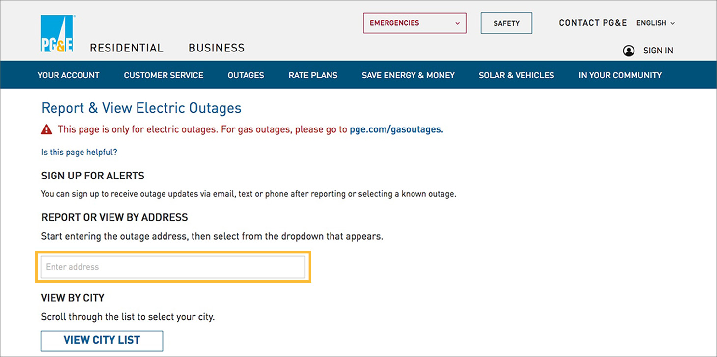report electricity outage