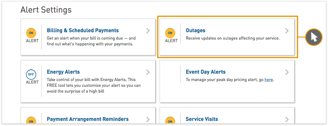 Power outage alerts and information