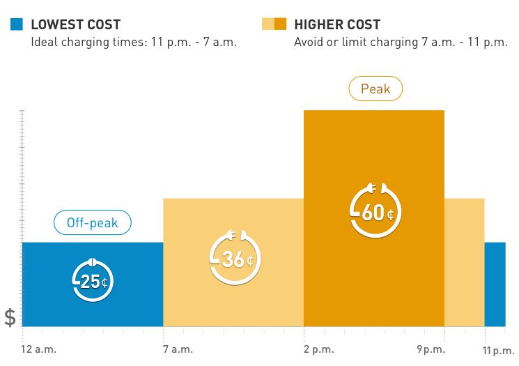 Lowest costs - ideal charging times 12a.m - 3 p.m. Higher cost - avoid or limit charging: 3p.m. - 12a.m.