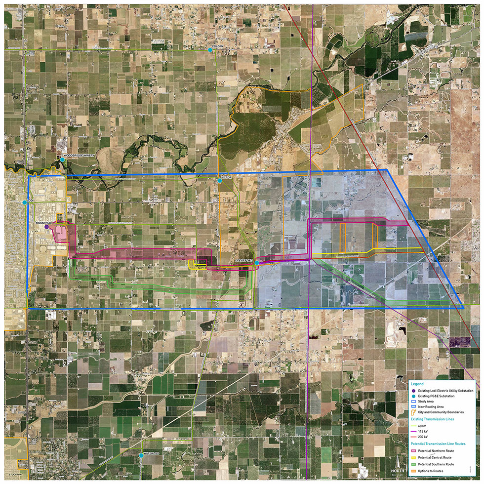 Northern San Joaquin 230 kV Transmission Project study area overview map