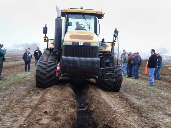 tractor which is deep plowing