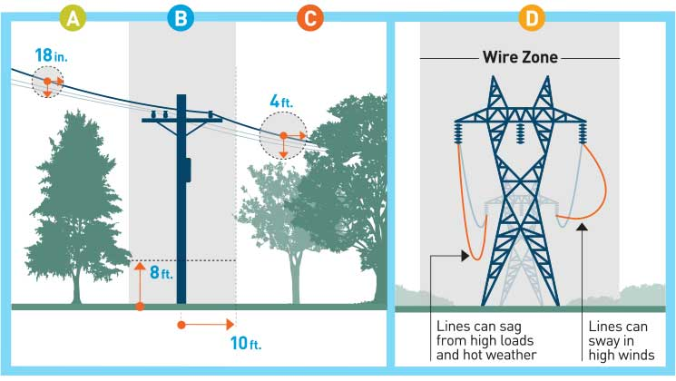 PG&E is required to maintain minimum conductor-to-vegetation clearance distances around its high-voltage lines to comply with State and Federal regulations for public safety and electric service reliability. Transmission powerlines should only have low growing trees and shrub below them.