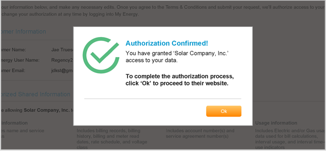 Authorization confirmation screenshot