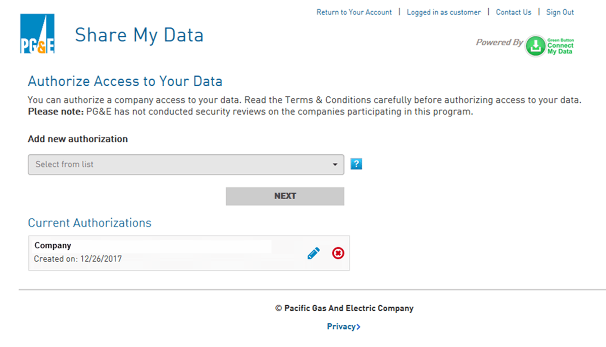 Share My Data Welcome Page screenshot