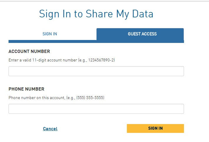 Screenshot of the Share My Data login screen.