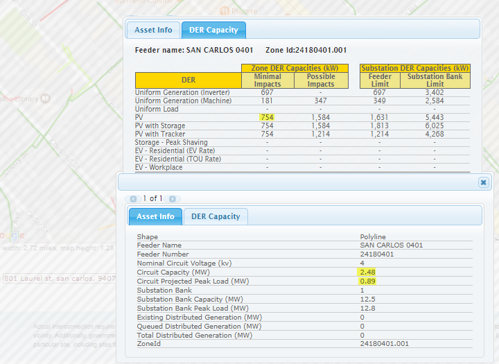A sample image of data from PG&E's Solar Photovoltaic (PV) and Renewable Auction Mechanism (RAM) Program Map.