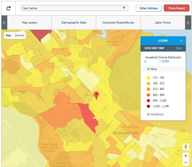 Sample image of one of PG&E's data maps with demographic, consumer spending and labor force information.