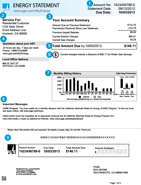 Electric Bill I ~ Standard gas and electric statement page