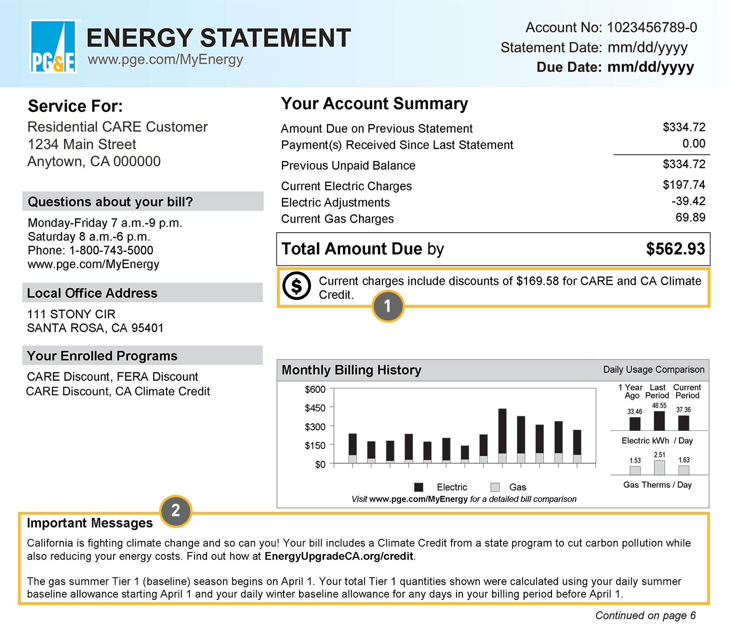 Energy Statement Page 1 The California Climate Credit Amount Is Listed Below Your Account