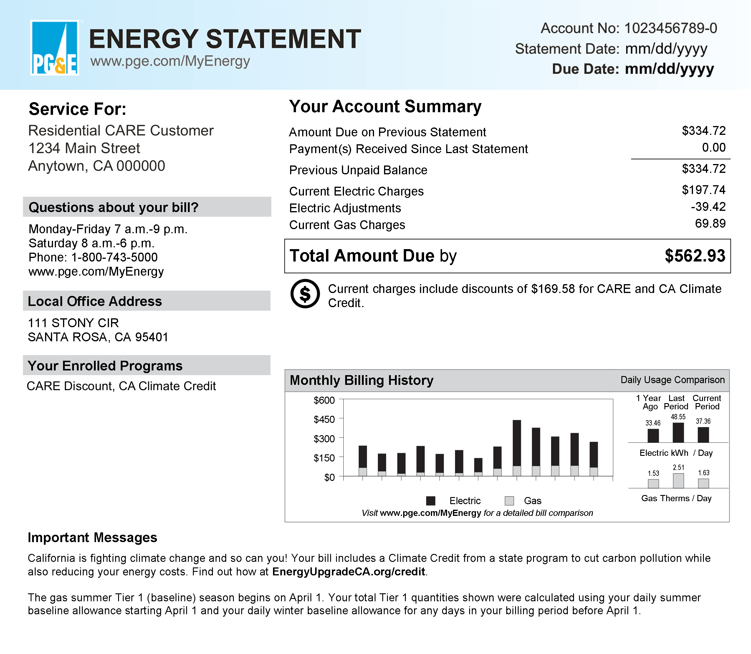 energy statement sample bill with account number, final bill and daily usage chart