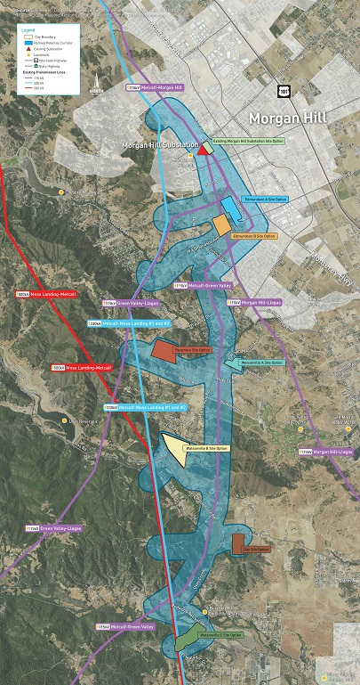 South County Substation Site Options and Refined Transmission Line Corridors in July 2016