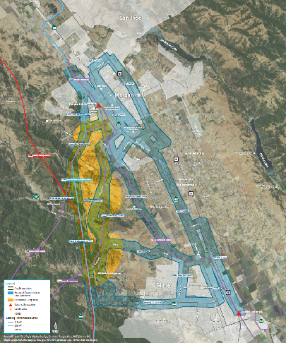 South County Substation Study Area and Potential Transmission Line Corridors in February 2016